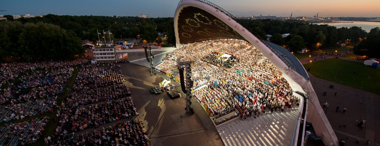 Night time view of the Tallinn Song Festival Grounds