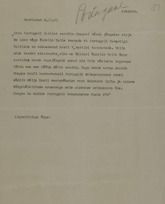 Message by Ambassador K. R. Pusta. Photo: Estonian National Archive