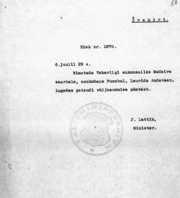 Ärakiri Anderseni nimetamise kohta aukonsuliks Madeiral. Foto: Rahvusarhiiv