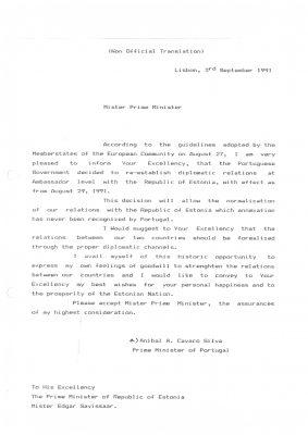Portugali peaminister Aníbal A. Cavaco Silva kiri Eesti peaminister Edgar Savisaarele. Allikas: välisministeerium