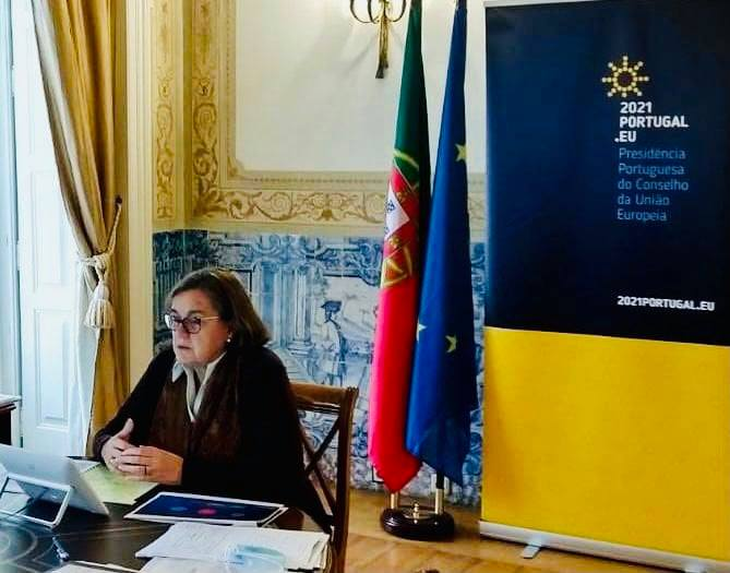 Portugal´s Minister for European Affairs, Ana Paula Zacarias holding video consultations on 21 December. Photo: Foreign Ministry of Portugal
