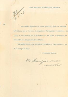 Kinnitus Eesti riigi tunnustamise kohta de facto ja de jure Portugali riigi poolt. Foto: Portugali välisministeeriumi arhiiv